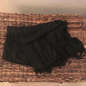 Women's Black Fringe Shawl (32x80)